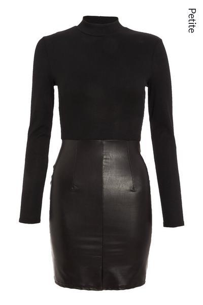Petite Black Faux Leather Bodycon Dress